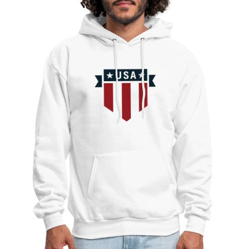 USA Pride Red White and Blue Patriotic Shield - Men's Hoodie