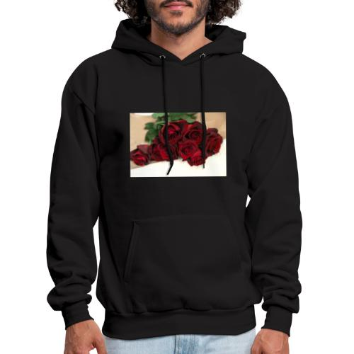 red rose bouquet on table - Men's Hoodie