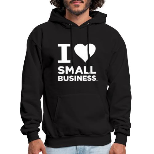 I Heart Small Business Logo (All White) - Men's Hoodie