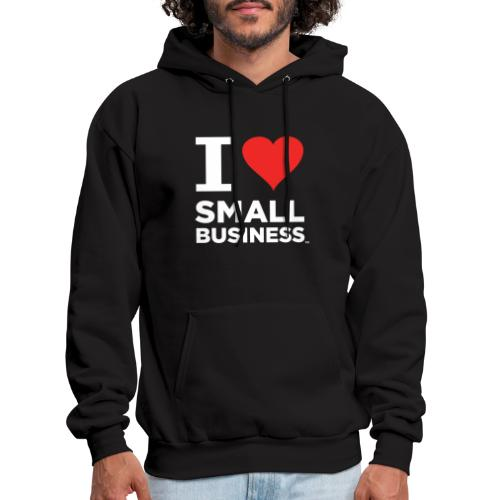 I Heart Small Business Logo (Red & White) - Men's Hoodie