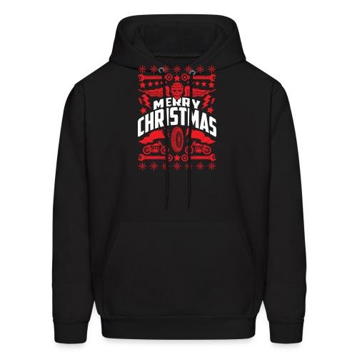 Biker Ugly Christmas Sweater - Men's Hoodie