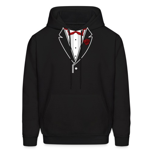 Tuxedo with Red bow tie - Men's Hoodie