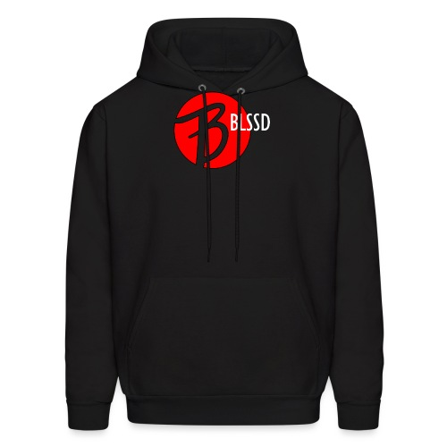 RED BLSSD CIRCLE WITH WHITE WRITING - Men's Hoodie