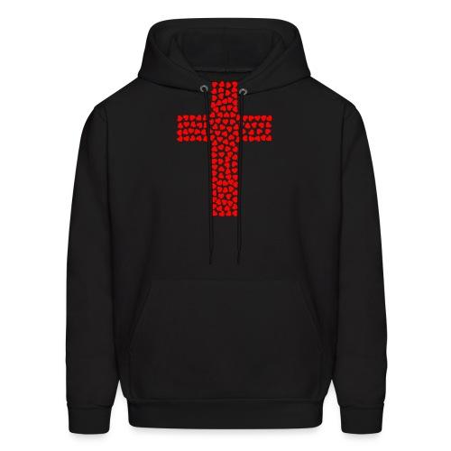 Jesus Love heart cross - Men's Hoodie