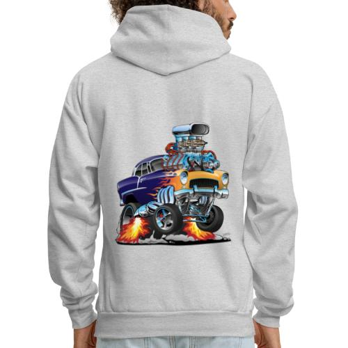 Classic Fifties Hot Rod Muscle Car Cartoon - Men's Hoodie