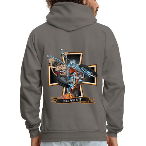 Deal with it - funny biker riding a chopper - Men's Hoodie
