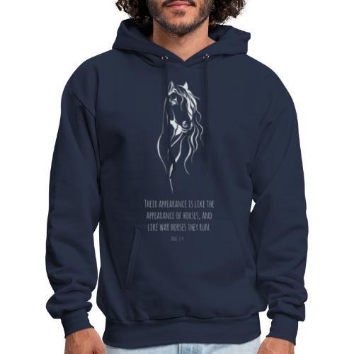 Joel 2:4 - Horses (White printed) - Men's Hoodie