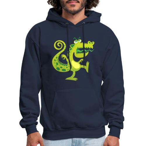 Scary reptile like monster growling in angry mood - Men's Hoodie