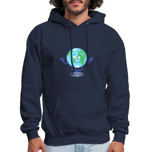 Planet Earth meditating and smiling - Men's Hoodie