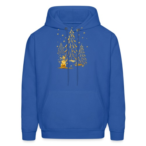 Gold Snowman and Christmas Tree - Men's Hoodie
