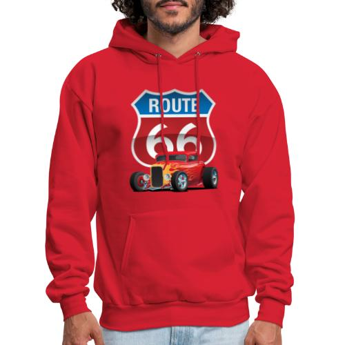 Route 66 Sign with Classic American Red Hotrod - Men's Hoodie