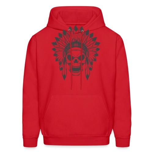 t shirt skull war hat feather native amerindian - Men's Hoodie