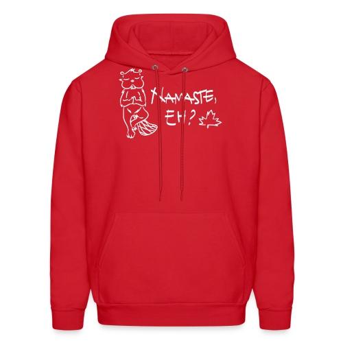 NAMASTE EH? (white print) - Men's Hoodie