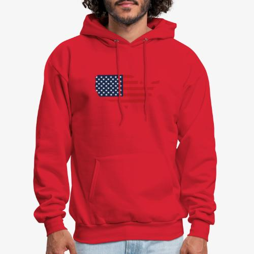 USA flag map red, white & blue - Men's Hoodie
