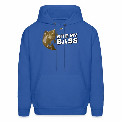 Bass Chasing a Lure with saying Bite My Bass - Men's Hoodie