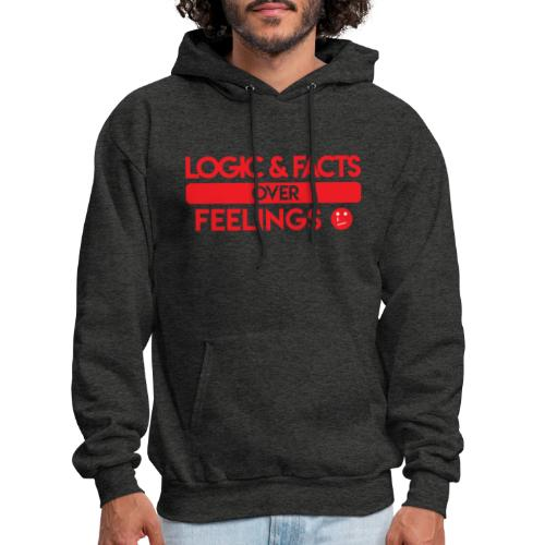 Logic & Facts Over Feelings Red - Men's Hoodie