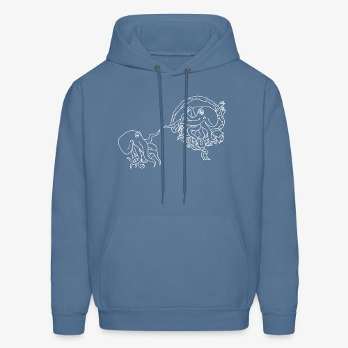 Octopus Creation White Outline - Men's Hoodie