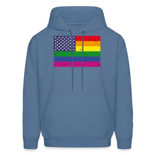 US Rainbow Flag (LGBT Stars and Rainbow Stripes) - Men's Hoodie