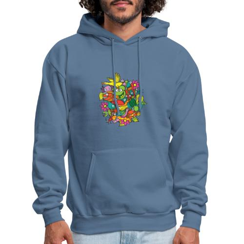 Amazing crowd of funny creatures living in a pond - Men's Hoodie