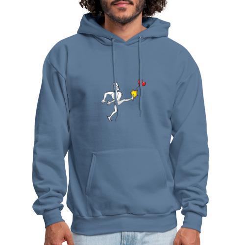 Furious white man violently kicking a red heart - Men's Hoodie