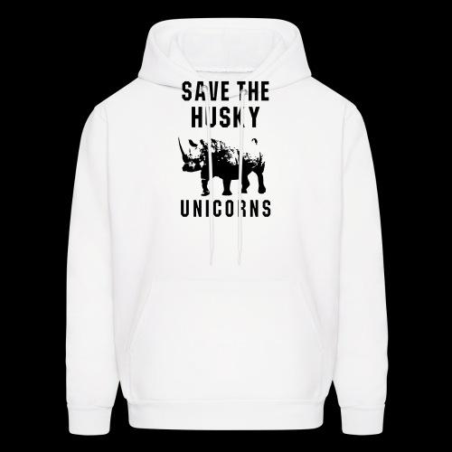 Save the Husky Unicorns   Funny Rhino - Men's Hoodie