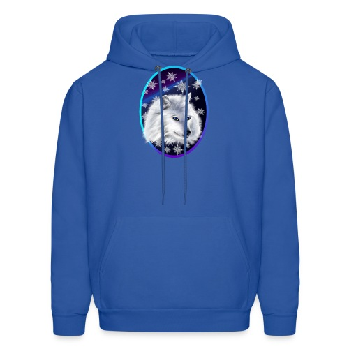 WHITE SNOW WOLF Oval - Men's Hoodie