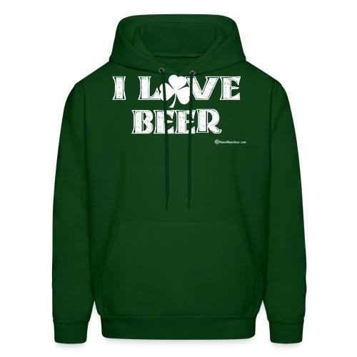 I Love Beer (Shamrock) White - Men's Hoodie