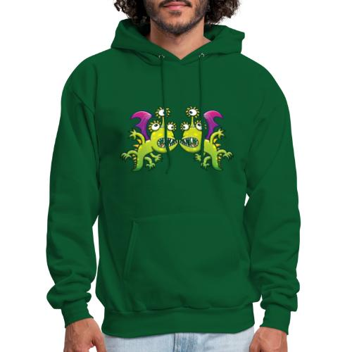 Three-eyed monstrous dragons face to face meeting - Men's Hoodie