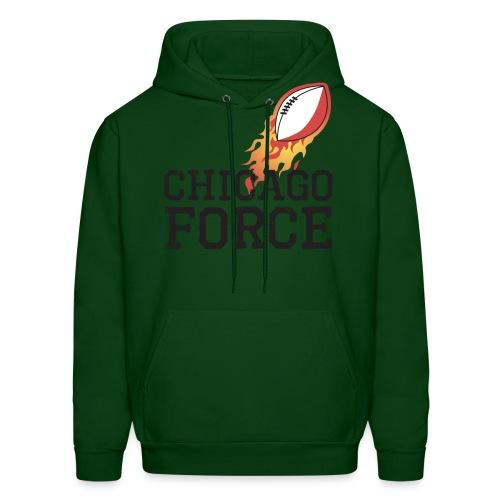 Chicago Force black w flaming football - Men's Hoodie