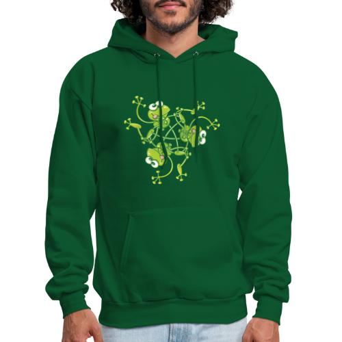 Frogs having fun when rotating in a pattern design - Men's Hoodie