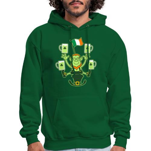 Leprechaun Juggling Beers and Irish Flag - Men's Hoodie
