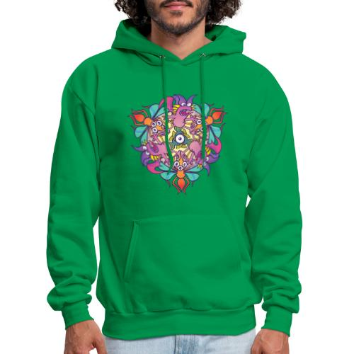 Mosquitoes, bats and fishes in doodle art style - Men's Hoodie