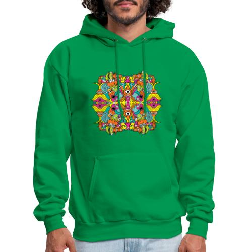 Aquatic monsters in a pattern in doodle art style - Men's Hoodie