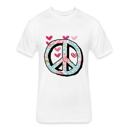 Peace and love cute shirts - Fitted Cotton/Poly T-Shirt by Next Level
