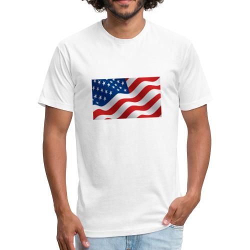 USA Flag - Fitted Cotton/Poly T-Shirt by Next Level