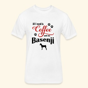 Basenji and my need of Coffee - Fitted Cotton/Poly T-Shirt by Next Level