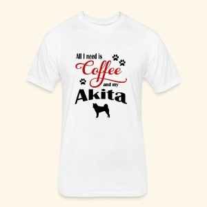 Akita and my need of Coffee - Fitted Cotton/Poly T-Shirt by Next Level