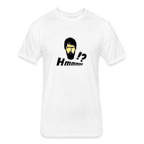 hmm!? emotion serious bearded face - Fitted Cotton/Poly T-Shirt by Next Level
