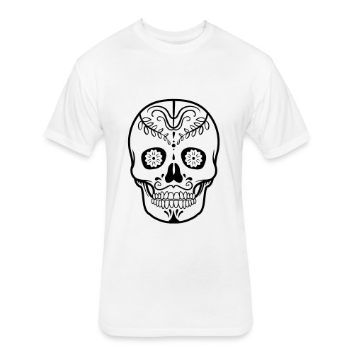 Colorful decorated skulls - Fitted Cotton/Poly T-Shirt by Next Level