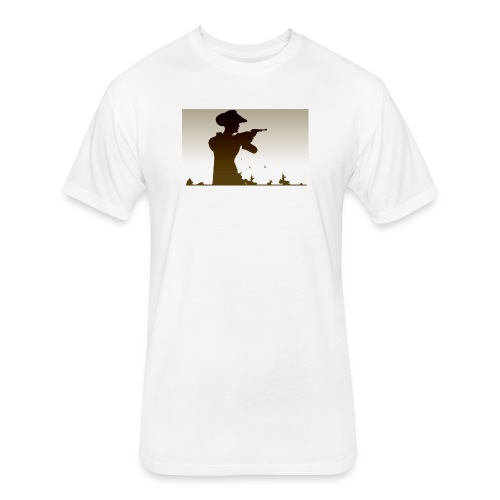 Western PUBG Man - Fitted Cotton/Poly T-Shirt by Next Level