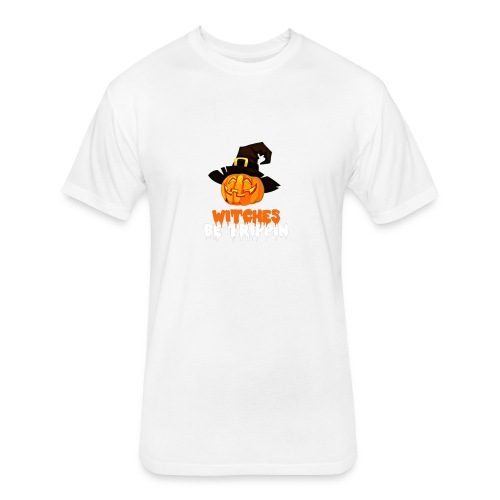 Halloween Funny skull zombie pumpkin tee shirts - Fitted Cotton/Poly T-Shirt by Next Level