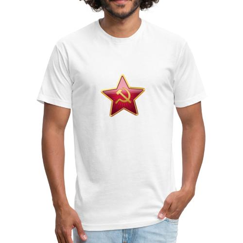 Red star with a sickle and a hammer - Fitted Cotton/Poly T-Shirt by Next Level