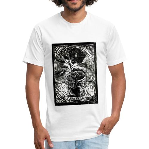 Hibiscus, 2017 linocut print by Jana Griffis - Fitted Cotton/Poly T-Shirt by Next Level