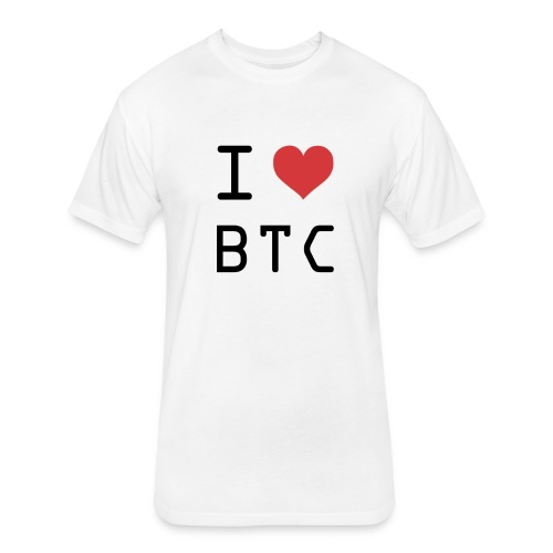 I HEART BTC (Bitcoin) - Fitted Cotton/Poly T-Shirt by Next Level