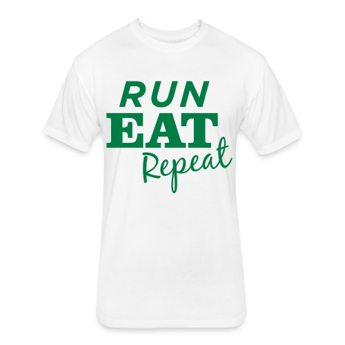 Run Eat Repeat buttons medium - Fitted Cotton/Poly T-Shirt by Next Level