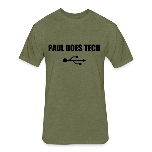 Paul Does Tech Logo Black with USB - Fitted Cotton/Poly T-Shirt by Next Level