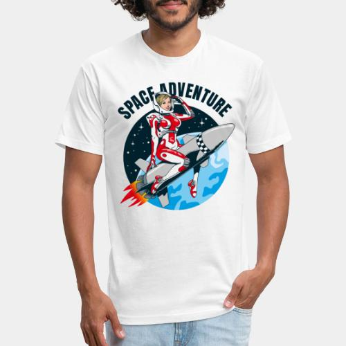 space adventure rocket girl - Fitted Cotton/Poly T-Shirt by Next Level