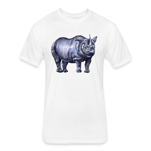One horned rhino - Fitted Cotton/Poly T-Shirt by Next Level