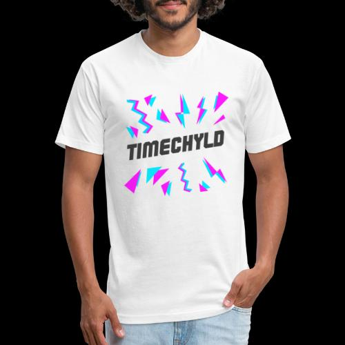 Timechyld Logo with Retro Pattern (Black) - Fitted Cotton/Poly T-Shirt by Next Level