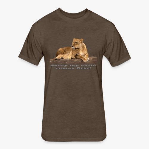 Lion-My child comes first - Fitted Cotton/Poly T-Shirt by Next Level